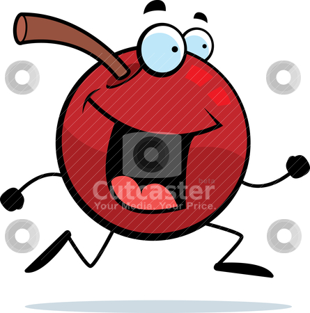 Cherry Running stock vector clipart, A happy cartoon cherry running and smiling. by cthoman