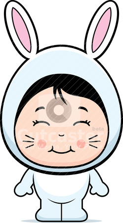 Rabbit Girl stock vector clipart, A happy cartoon girl in a rabbit costume. by cthoman