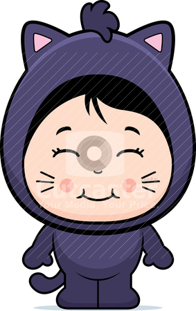 Cat Girl stock vector clipart, A happy cartoon girl in a cat costume. by cthoman