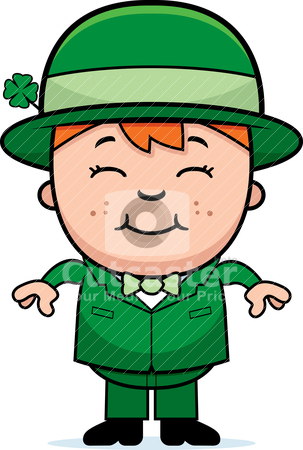 Kid Leprechaun stock vector clipart, A happy cartoon boy in a leprechaun costume. by cthoman