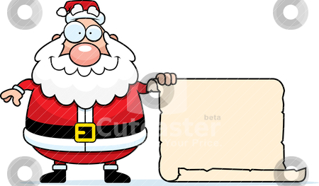 Santa List stock vector clipart, A happy cartoon Santa Claus with his list. by cthoman