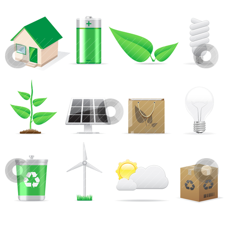 Eco icons  stock vector clipart, Environment and eco icons for design by Vladimir Gladcov