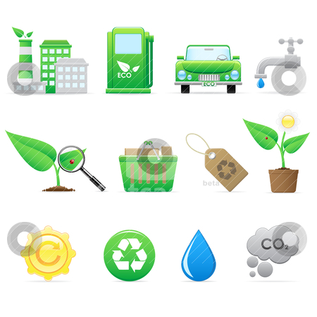 Ecology icon set stock vector clipart, Environment and eco icons for design by Vladimir Gladcov