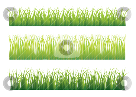 Green grass variation stock vector clipart, Collection of three different green grass borders seamlessly repeat by Michael Travers