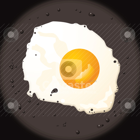 Fried egg stock vector clipart, Fresh fried egg in frying pan and oil with golden yoke by Michael Travers