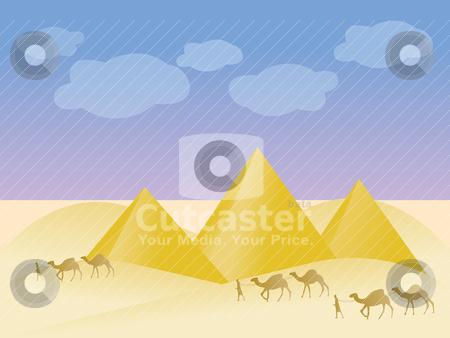Egypt and pyramid landscape  stock vector clipart, Egypt and pyramid landscape - vector illustration by Stoyan Haytov