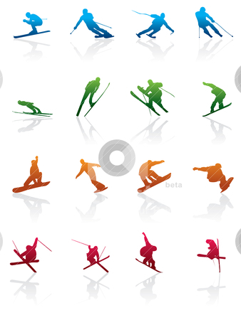 Ski and snowboard icon  stock vector clipart, ski and snowboard icon  - vector icon set by Stoyan Haytov