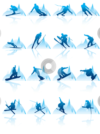 Ski and snowboard icons  stock vector clipart, ski and snowboard icons - vector icon set by Stoyan Haytov