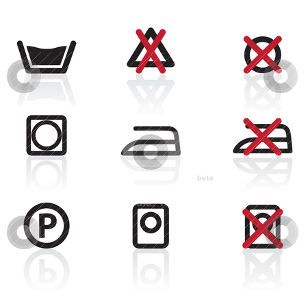Laundry Care Symbols and signs icons  stock vector clipart, Laundry Care Symbols and signs icons - vector icon set by Stoyan Haytov