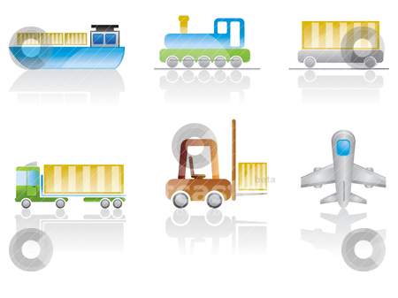 Transportation and travel  icons  stock vector clipart, transportation and travel  icons - vector icon set by Stoyan Haytov