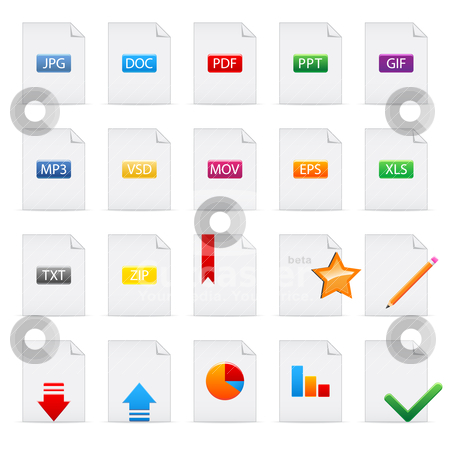 Document icons stock vector clipart, Set of file extensions and document icons  isolated on white. Vector illustration by Vladimir Gladcov