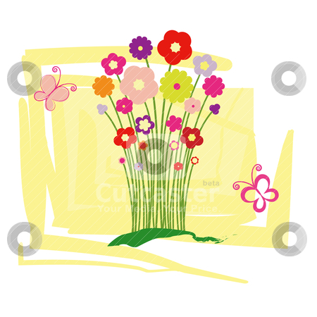 spring summer floral greeting card stock vector, Greeting card
