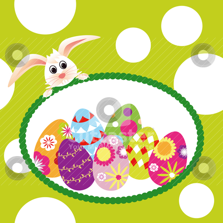 Springtime Easter holiday wallpaper stock vector clipart, Springtime Easter holiday wallpaper colorful eggs with rabbit by meikis