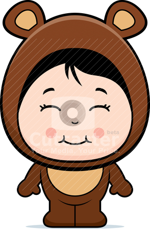 Bear Girl stock vector clipart, A happy cartoon girl in a bear costume. by cthoman