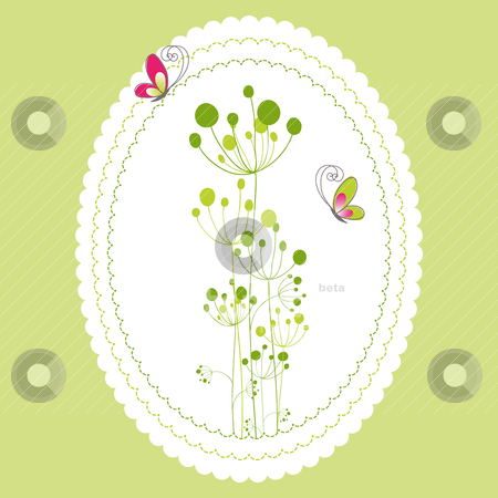 Spring summer floral on green background greeting card stock vector clipart, Spring summer floral on green background greeting card by meikis