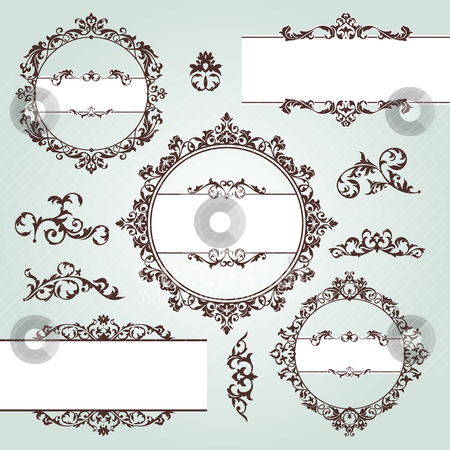 Vintage design elements stock vector clipart, set of vector floral vintage design elements by SelenaMay