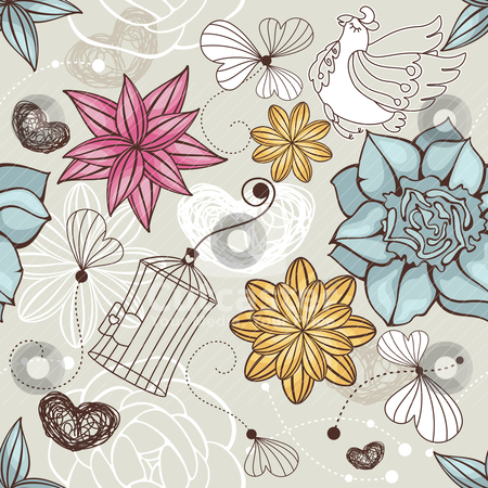 Seamless floral background stock vector clipart, abstract vector seamless floral background with bird by SelenaMay