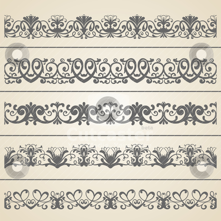 Seamless borders set stock vector clipart, Seamless borders set. | Vector illustration. by th12