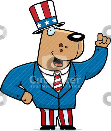 Patriotic Dog stock vector clipart, A happy cartoon dog in a patriotic suit. by cthoman