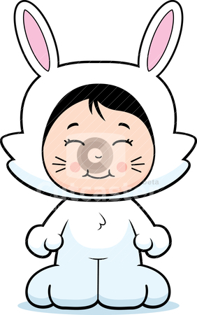 Rabbit Costume stock vector clipart, A happy cartoon girl in a rabbit costume. by cthoman
