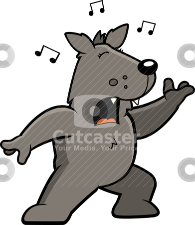 Wolf Singing stock vector clipart, A cartoon wolf standing and singing a song. by cthoman