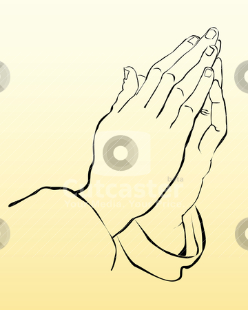 Praying hands stock vector clipart, praying hands on a yellow background by Yuriy Mayboroda