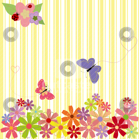 Springtime flowers & butterflies on yellow stripe background stock vector clipart, Springtime flowers & butterflies on yellow stripe background by meikis