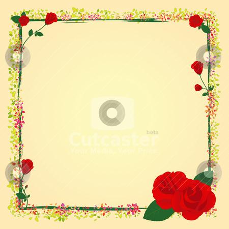 Flower Bouquet on Flower Frame Stock Vector Clipart  Summer Rose Garden Flower Frame By