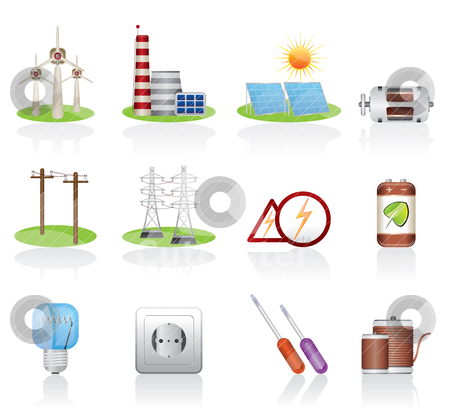Electricity and power icons  stock vector clipart, Electricity and power icons - vector icon set by Stoyan Haytov