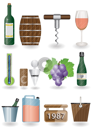 Drink and Wine icons  stock vector clipart, Drink and Wine icons - vector icon set by Stoyan Haytov
