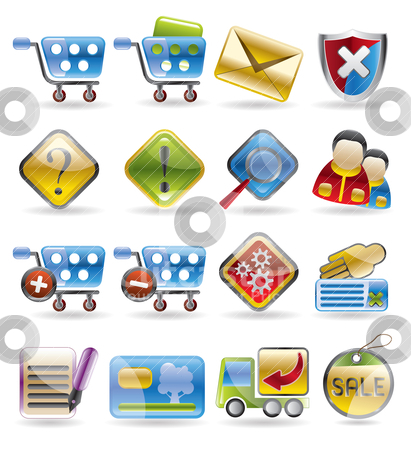 Online Shop Icons  stock vector clipart, Online Shop Icons - vector icon set by Stoyan Haytov