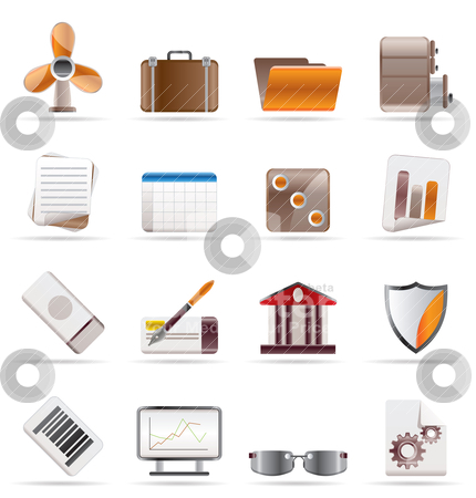 Realistic Business and Office Icons  stock vector clipart, Realistic Business and Office Icons - Vector Icon Set 2 by Stoyan Haytov