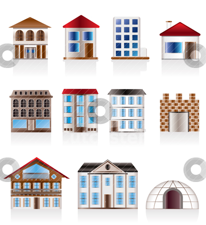 Various variants of houses and buildings  stock vector clipart, Various variants of houses and buildings - Vector Illustration by Stoyan Haytov