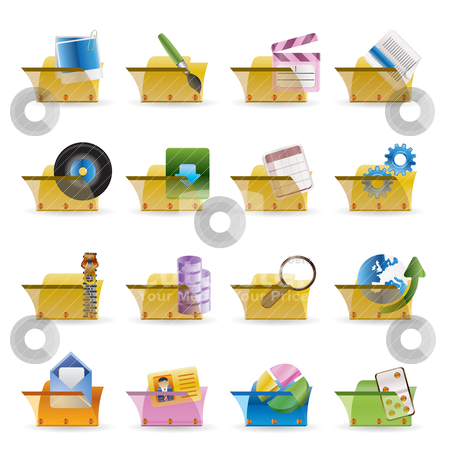 Computer and Phone Icons - Folders  stock vector clipart, Computer and Phone Icons - Folders - Vector Icon Set by Stoyan Haytov
