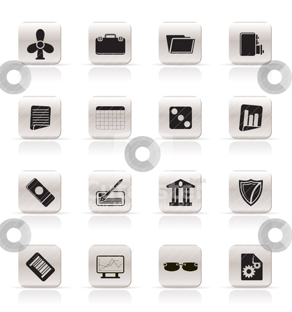 Simple Business and Office Icons stock vector clipart, Simple Business and Office Icons - Vector Icon Set 2 by Stoyan Haytov