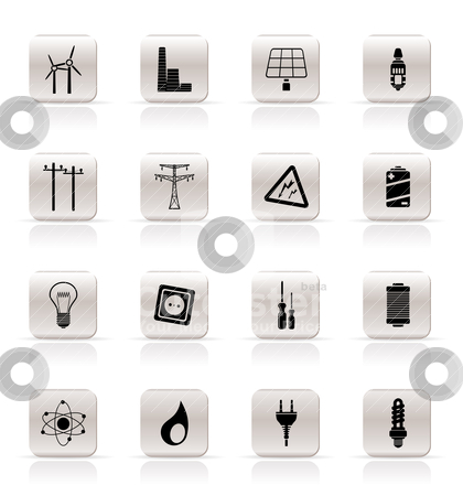 Simple Electricity,  power and energy icons  stock vector clipart, Simple Electricity,  power and energy icons - vector icon set by Stoyan Haytov