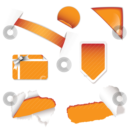 Shop sale elements orange stock vector clipart, Collection of shop sale stickers for price promotion by Michael Travers