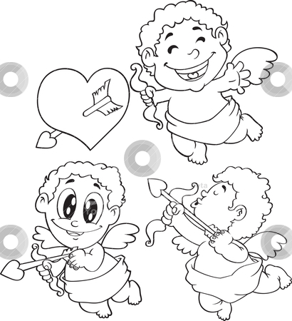 Cupid stock vector clipart, set of cupid by mhatzapa