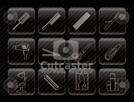 Line hairdressing, coiffure and make-up icons stock vector clipart, Line hairdressing, coiffure and make-up icons - vector Icon Set by Stoyan Haytov