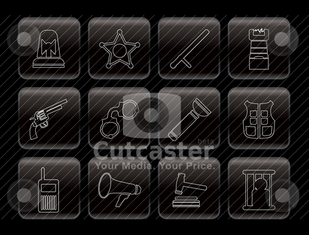 Law, order, police and crime icons stock vector clipart, Law, order, police and crime icons - vector icon set  by Stoyan Haytov