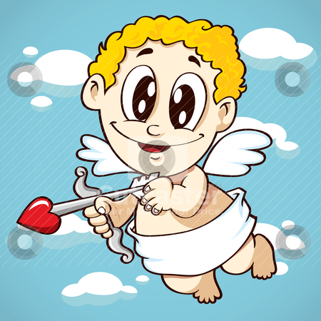 Cute cupid stock vector clipart, cute cupid holds arrow by mhatzapa