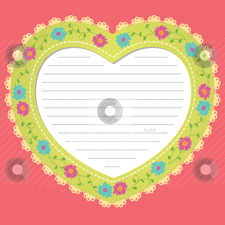 Vintage heart card stock vector clipart, vintage heart card by mhatzapa