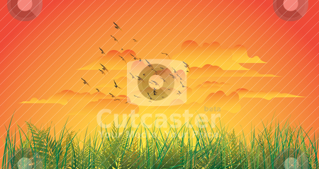 Sunset stock vector clipart, sunset panoramic by mhatzapa