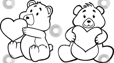 Teddy bear hugging heart stock vector clipart, teddy bear hugging heart, black and white version by mhatzapa