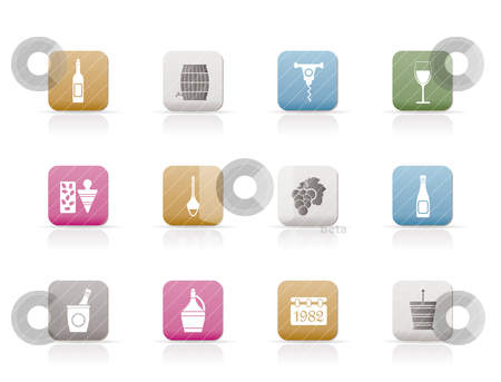 Wine Icons stock vector clipart, Wine Icons - Vector Icon Set by Stoyan Haytov