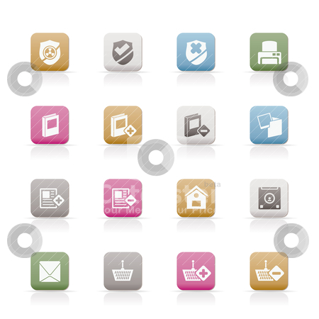 Internet and Website buttons and icons  stock vector clipart, Internet and Website buttons and icons -  Vector icon set  by Stoyan Haytov