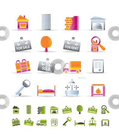Realistic Real Estate icons stock vector clipart, Realistic Real Estate icons - Vector Icon Set by Stoyan Haytov
