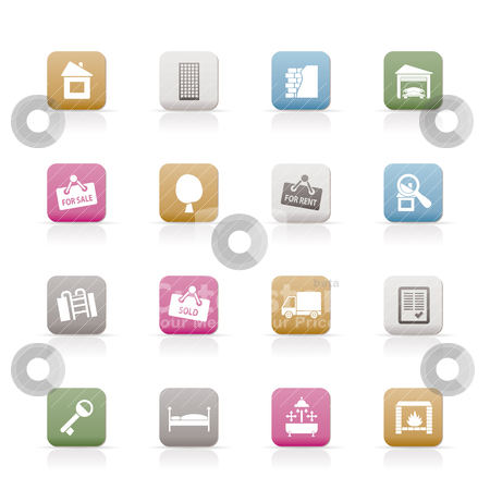 Real Estate icons stock vector clipart, Real Estate icons - Vector Icon Set by Stoyan Haytov