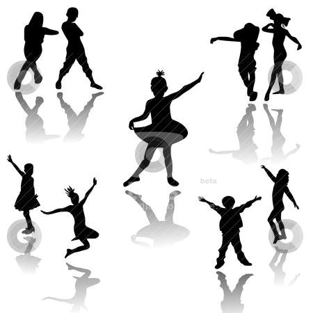 Dancing kids stock vector clipart, Silhouettes of children at dance by Richard Laschon