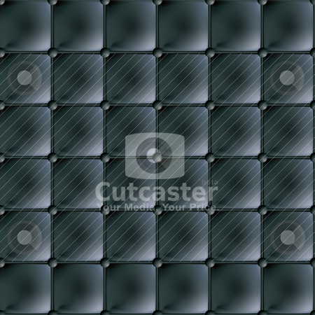 Black leather material stock vector clipart, Black leather material background seamlessly tiled with buttons by Michael Travers